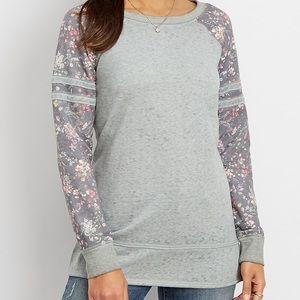 Floral Sleeve Pullover Sweatshirt XL